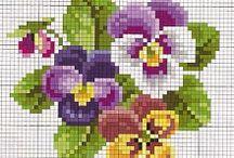 Haft krzyzykowy (kwiaty) / Cross stitching (flowers) / by Anna Kopczynska