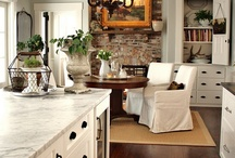 """For the Home / We just completed a kitchen remodel, and I now want to change my dining and great room decor, which has always been very colorful/vintage/cottage. I'm now leaning towards a more neutral palette. We live in a unique """"rural suburbia"""" area, which is also 15mins from the beach (and we're a beachy kind of family), so I'm aiming for beachy farm house? We also own some coastal property and hope to retire to the central coast in the future, so I am also aiming for things that will transfer there. / by Lisa Christine"""