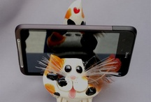 Products I Love / Calico Cat Cell phone/Sponge Holder.  Adorable, handmade, hand painted pottery with a heart on the tip of the tail. / by Shari Kumiega
