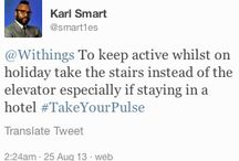 """How to get active (healthy fitness exercise) Week 4 / #TakeYourPulse Twitter contest - Week 4. The question we ask Withingers is """"How do you get active during your holiday?"""". During August 2013, each week, the Withings staff will pick their 2 favorite story/photo tweets that include the #TakeYourPulse hashtag. Their authors will receive a Withings Pulse! / by Withings"""