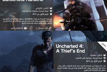 انفوجرافيك ألعاب الفيديو / بلاي ستيشن ٣، ٤، أكس بوكس ٣٦٠، أكس بوكس وان، بي سي / by Kasra