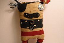 Art Dolls ~ Stuffed ~ Softies ~ Monsters / critters-creatures-prims-folk-misfits / by Debbie May