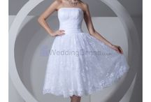 Knee-Length Wedding Dresses /  Satin and Lace Strapless Knee Length Corset Wedding Dress / by eweddingdress