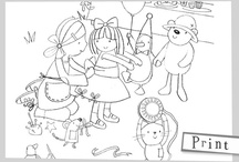 Emily Button Print and Paint / Colour-in Emily and her friends.  / by Emily Button