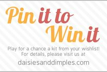 Pin it to Win it with DaisiesandDimples / Join us and play for a chance to win a kit from your wishlist. September 9th-21st 2014.  Details at www.daisiesanddimples.com - SECRET WORD: COVER ME / by Jen Wright