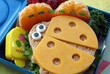 Recipes - Food for Kids / These cute Bento lunches and snacks were created by Jill Dubien and you can follow her at Meet The Dubiens, her own site.  I thought they were nutritious, easy for mom, fun for the children, good for home or to take out, gives mom a creative lift for the day to make them. What's not to like??? / by Becky Johns