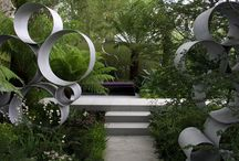 Garden Art Circles / Balls, spheres, rings used to form pleasing patterns. For some reason, I am particularly pleased by round features in art. / by Ann Ayers