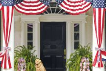 4th of July Decor! / Celebrate Independence Day by showing your patriotism decorations. A flag on display at the doorway, wreaths and bunting of red, white, and blue are just the thing to welcome family and friends to backyard barbecue. #doornmore #exterior door #blog / by US Door & More Inc.