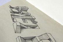 Treppen Buchstaben 3D effekt / by Ireni Vafiadis