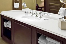 Bathroom Counter Tops / Elements is a scientifically engineered material – a fusion of pure, fine natural quartz and post-consumer recycled glass. The company's scientific breakthrough has resulted in the creation of a highly polished, luxurious and sustainable surface – virtually indestructible. / by Elements by Durcon