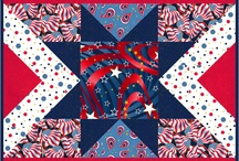 Patriotic Pop  / In shops Now! All designs have metallic gold.  This new collection featuring the American flag, paisleys, chevrons and polka dots really pops with metallic gold in every design. Great collection to use for summertime and for 4th of July celebrations for tablecloths, patio cushion covers, bunting or a fun quilt to sit upon to watch the fireworks!  http://www.quiltingtreasures.com/content16049.html / by Quilting Treasures