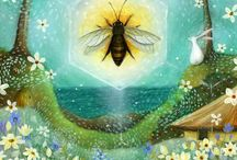 Bee illustrations / Love that God created this small creature to do such a big job ~ & He used the word BE to point the way / by Cynthia Bogart