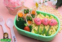 Bento Love / In a bento box about this size, Put in a few rice balls, Minced ginger, sprinkle with sesame seeds, 3 carrots, 3 peppers, 3 shiitake mushrooms, 3 burdock roots, 3 lotus roots with holes in them, & butter burs with the strings running through them / by Molly Coddle's Kitchen