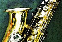 with SAX!! / Enjoy music with saxophones! Wanna join them with saxophones!!!  / by Shizuka Yugami