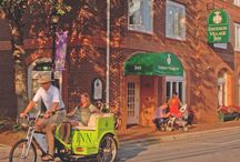 """Get Inn"" for a ride on the Green Machine! / Many guests of the Inn (and lots of locals as well) like to take a ride around Davidson in the Inn's Pedicab. / by Davidson Village Inn"