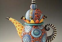 """~ Tea pots ~ / I have had a """"thing"""" for tea pots since I was about 10 years old. My neighbor lady would brew a pot of tea for me whenever my grandma and I would visit, I was allowed to have it in a fancy cup and saucer with a sugar cube! She later gave me that green tea pot with gold flowers on it that had belonged to her mother, and  I still have that tea pot today! / by Cyndy Hipple Brandt"""