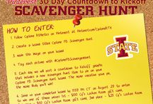 Cyclone FB Scavenger Hunt / Create a Cyclone FB Scavenger Hunt board on Pinterest. Each day we will post a countdown graphic with a new Iowa State Cyclone scavenger hunt item. The more original your pins are the better chance you have of winning! At the end of the month we will choose the top 3 boards. Send your own board (link) to cy@iastate.edu 1st place will receive a $100 gift card to Cy's Locker Room 2nd place will receive a $50 gift card to Cy's Locker Room 3rd place will receive a $25 gift card to Cy's Locker Room. / by Iowa State Athletics