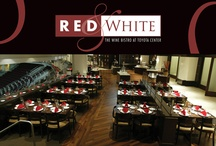 Red & White Wine Bistro at Houston Toyota Center / Toyota Center's Red and White Bistro located on the Lower Suites level features hardwood floors, a sparkling display kitchen, and views of all the action.