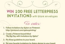 "{contest} 100 free letterpress invites / We're excited to share our new contest! Until 8/31/14 you can enter to win 100 letterpress invitations and blank envelopes. Create your own board titled ""My Big Day with Invitations By Ajalon"" and pin our rules, one of our designs, and 12 of your own photos to create a celebration look that you love. Post your board's URL in the comment section of our blog to be entered into our raffle: http://invitationsbyajalon.com/blog/100invites / by Invitations by Ajalon"