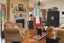 COLONIAL/PRIM LIVING ROOMS / by Karen Leonard