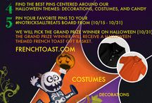 #NoTricksAllTreats Promotion Board / Participate in our #NoTricksAllTreats Sweepstakes to win some great French Toast Prizes. Follow the directions below to enter. We look forward to seeing your Halloween spirit! / by French Toast