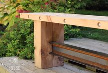 """Resurrection of Industry"" Bench / Our ""Resurrection of Industry"" harvest bench will make a bold statement anywhere you choose to use it.   Its predominant through-built I-beam design gives this sturdy bench the perfect mix of industrial and rustic styling.  Measuring 18"" tall, 48"" long and 12"" wide, with custom sizing available at an extra cost. Available in a variety of stains and finishes this well built eye catching bench will make a statement in any space. / by Mono Centre Salvage & Wood Co."