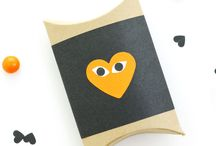 Heart Face Project to fill with treats / Heart face DIY treat holders with a Halloween inspired theme sponsored by the great designers at OhHappyDay -- We've added our favorite papers to use for this quick and easy project / by Paper-Papers