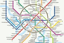 World Metro Maps / Until the 1930s, official maps of metro networks were mostly topographical and increasingly cluttered. In 1933, Harry Beck came up with a schematic map for London Underground resembling the diagram of an electronic circuit with straight lines and 45° angles. The design was so efficient and popular that in the following decades nearly all urban transportation systems around the globe adopted this style for their official maps. | http://bit.ly/kdxdgE / by Anna Lozano