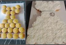 Bridal shower  / Cupcake cake in shape of wedding dress / by Kathie Gutierrez