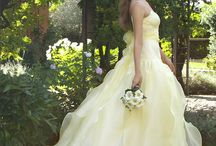 Gowns by Color: Yellow / Wedding dresses, bridesmaids gowns and evening dresses in yellow, cream, mustard, amber, beige, saffron  / by Wedding Inspirasi
