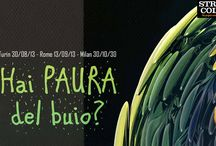 """#HPDB2013 Oltre il buio c'è il colore / Streamcolors Lab: """"Hai paura del buio"""" festival itinerante delle arti. Virtual installation. Turin (30/8) and Milan (30/10). Abbiamo trasformato la reinterpretazione di alcuni quadri di 4 importanti artisti contemporanei (Vanni Cuoghi presente alla scorsa Biennale di Venezia, Carlo Cofano, Fulvio Martini e Vania Elettra Tam) in tele virtualmente navigabili. Alle pareti, abbiamo proiettato un video con un mondo immaginario dipinto con i colori estratti dalle opere dei quattro artisti. / by Streamcolors"""