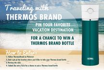 "Traveling with Thermos Brand / Our Teal Thermos Vacuum Insulated Drink Bottle makes the perfect spring vacation travel buddy!  Want to win one of your very own? Enter our Pinterest giveaway by sharing your favorite vacation destination. To begin, click ""Submit an entry"" now! / by Thermos"