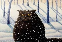 """Black Cats / Black cats then and now in  art, illustration and photography.  Disclaimer: These are just """"PINS"""". I don't claim copyright or ownership of any content on this board. / by Terri Klugh"""
