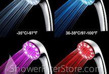 LED Shower Filters / Hand-Held & Stationary Shower Filters with self-powered LED lights / by ShowerFilterStore.com