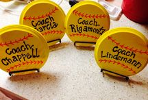 Softball banquet ideas / Had to make my own stuff because no one sells yellow softball decor!  / by Lora Benitez-Buehrig