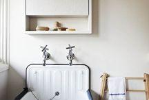 bath on top floor w/ low ceiling, farm / by Debbie Sheegog
