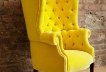Yellow wingback chair inspiration / by Stefani Hoots