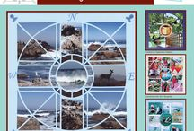 Compass Stencil / This Board shows different Photo Collage layouts all using the Compass Stencil as the design template. / by Lea France Scrapbooking (Photo Collage)
