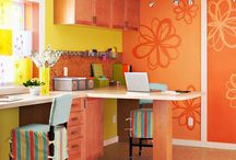 Orange Rooms / Something about orange that make me feel like running in a grove of trees. These rooms and accents are well, very much orange. / by skip to my room