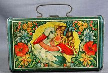 Vintage tin picnic and lunch boxes / by N P