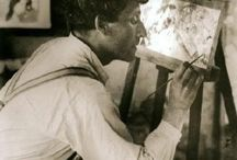 """Marc Chagall / Marc Zakharovich Chagall  6 July [O.S. 24 June] 1887 – 28 March 1985) was a Russian-French artist.[1]:21 Art critic Robert Hughes referred to Chagall as """"the quintessential Jewish artist of the twentieth century"""" (though Chagall saw his work as """"not the dream of one people but of all humanity""""). An early modernist, he was associated with several major artistic styles and created works in virtually every artistic medium. / by Robert Barker"""