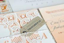peach wedding invitations / by InvitesWeddings