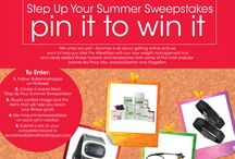 "Step Up Your Summer Sweepstakes / Enter our ""Step Up Your Summer Sweepstakes"" from now until August 31, 2014 for a chance to Win What You Pin! (Up to $500 value.). How to enter: Must follow @vitaminshoppe on Pinterest. Create a board title ""Step Up Your Summer Sweepstakes"". Pin items from this board to your board that you would use to get in your best shape this summer. All repins must include the #VSsummersweepstakes in the caption/description box. Send us a link to your board to socialmedia@vitaminshoppe.com - 08.31.2014  / by Monica Kim"