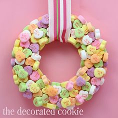 I like the idea of decorating with these adorable pastel candy hearts for Valentine's Day. A bit too sweet to eat, though. ;)