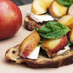 #Recipe: Tartines With Mozzarella, Basil, and Nectarines