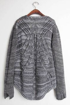 Gray sweater:: so love the back of this one! cats, fashion, grey sweater, cloth, gray sweater, dark grey, closet, design, back details