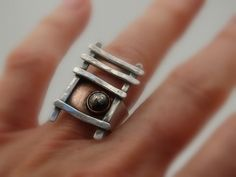 Funky hand built ring - hand fabricated in sterling silver and copper by JoDeneMoneuseJewelry, $95.00