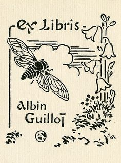 libraries, artists, ex libris, bees, 蔵書票exlibri, bookplat, book covers, flower