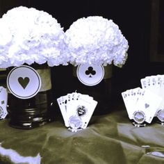 Do it yourself casino night decor. Came up with some ideas for Casino themed decor for a school fundraiser. Fun and inexpensive.....would also be a cool party idea