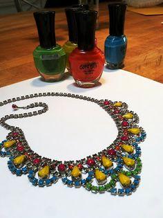 Neon Painted Vintage Rhinestone Necklace - Tutorial at Bonnin Designs Blog